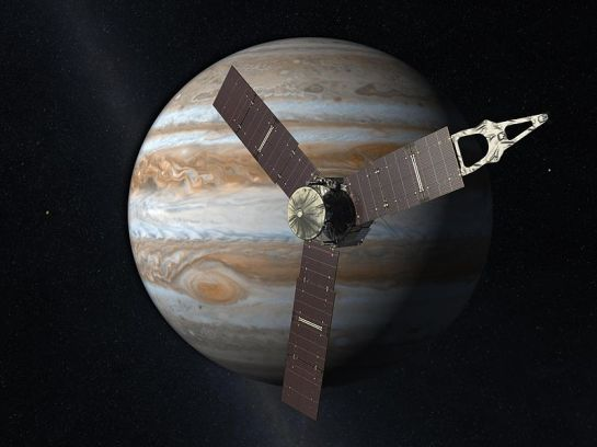 The Juno spaceprobe in front of the planet Jupiter (Artist's Concept). NASA/JPL 2011