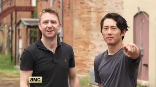 Chris Hardwick and Steven Yeun on location in Georgia, TWD Season 5.  AMC 2014.